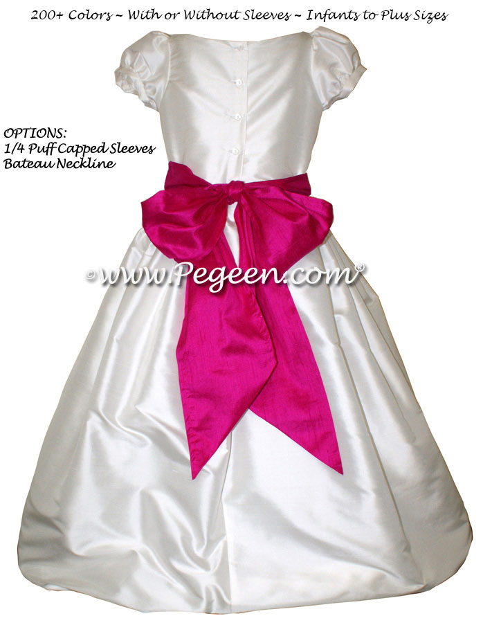 Antique White and Raspberry Pink custom silk flower girl dresses