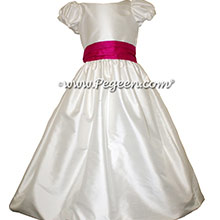 RASPBERRY PINK AND Antique White AND RASPBERRY PINK JR. BRIDESMAID DRESS STYLE 388 BY PEGEEN