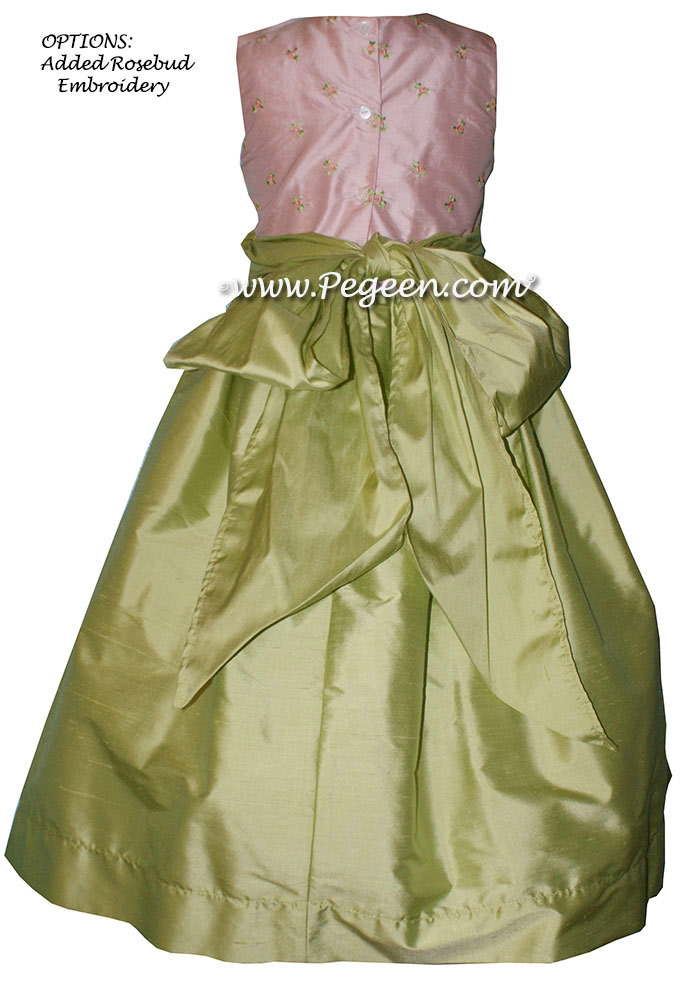 Pink embroidery with sprite green flower girl dress with layers of tulle