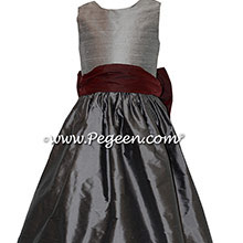 Custom  Burgundy and Medium and Silver Gray flower girl dresses in silk