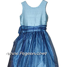 medium blue and navy junior bridesmaids  dresses