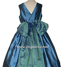 Storm Blue and Blue Spruce flower girl dresses Style 388