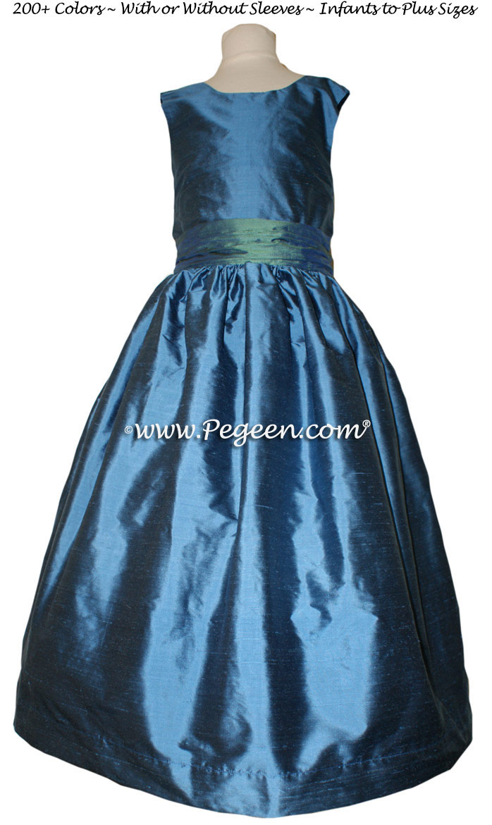 Blue Spruce and Storm Blue flower girl dresses
