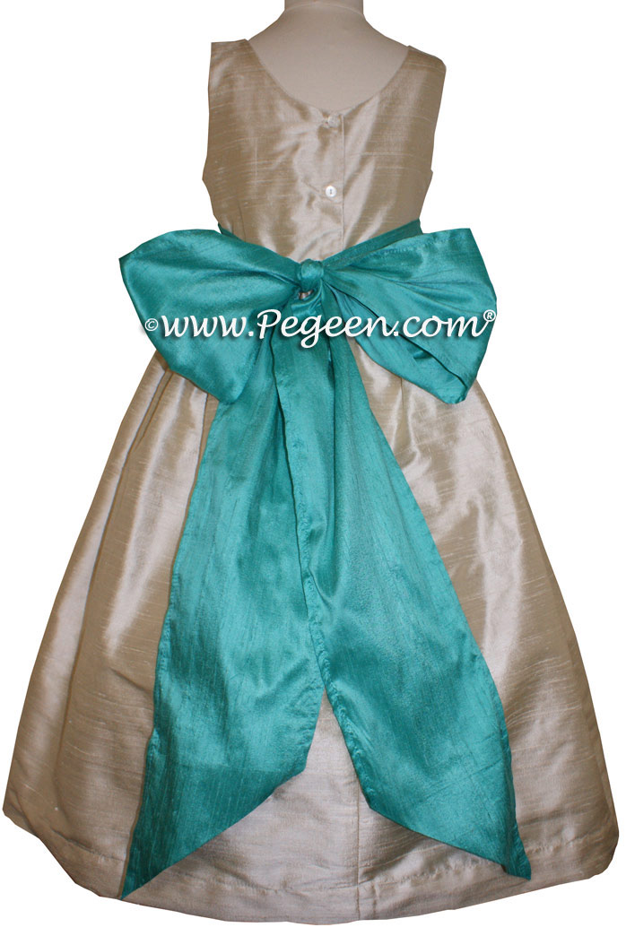 Toffee and Paradise (Aqua) flower girl dresses