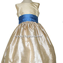 Style 388 in Buttercreme, Blue Moon, and Toffee Custom flower girl dresses