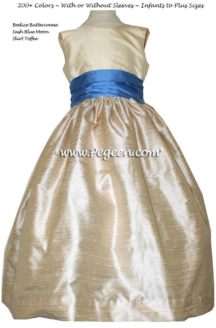 Blue Moon AND IVORY CUSTOM FLOWER GIRL DRESSES