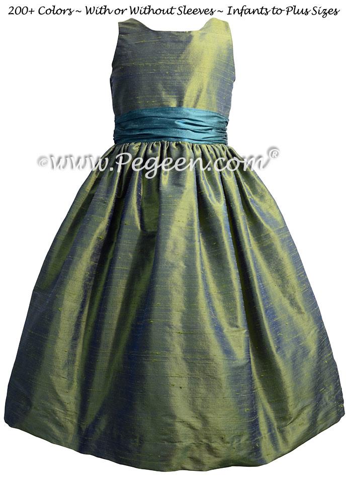 Winter Green and Juniper Silk Jr Bridesmaids Dresses Style 388