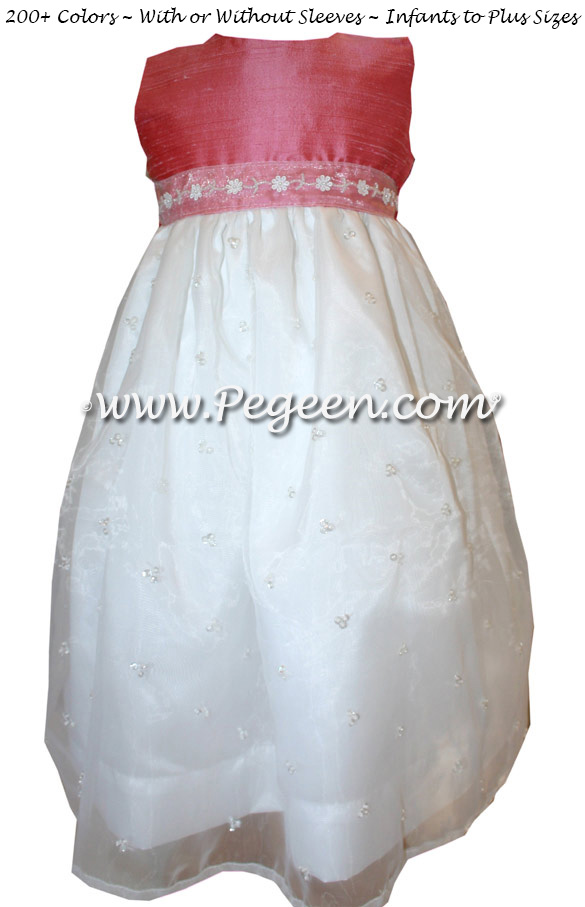 Gumdrop with Sequined Organza with Pearls Custom Silk Flower Girl Dresses
