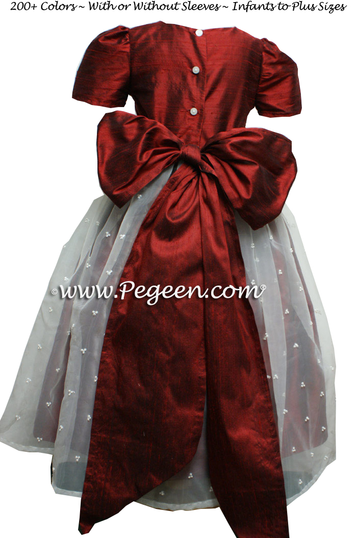 Claret Red Silk and Organza Custom Flower Girl Dresses