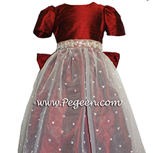 claret red flower girl dresses