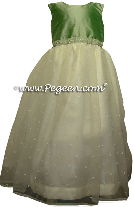 leaf green custom flower girl dresses with sequins
