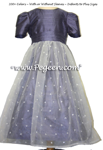 Silk and Sequinned Organza Silk Flower Girl Dresses Euro Lilac