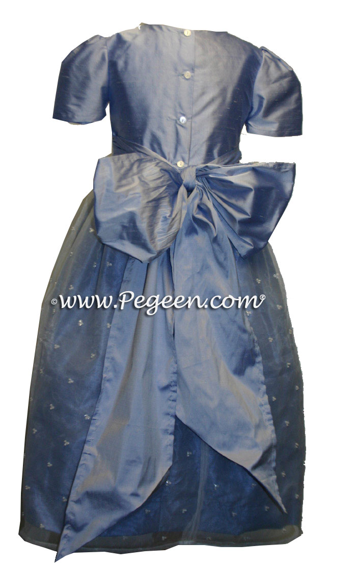 Ivory and Wisteria Blue Ballerina Style Flower Girl Dresses with Organza Skirt