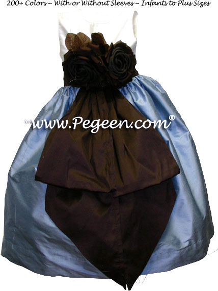 Flower Girl Dresses French Blue- Semisweet Brown Style 383   Pegeen