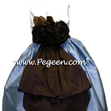 FRENCH BLUE AND SEMISWET chocolate brown flower girl dresses