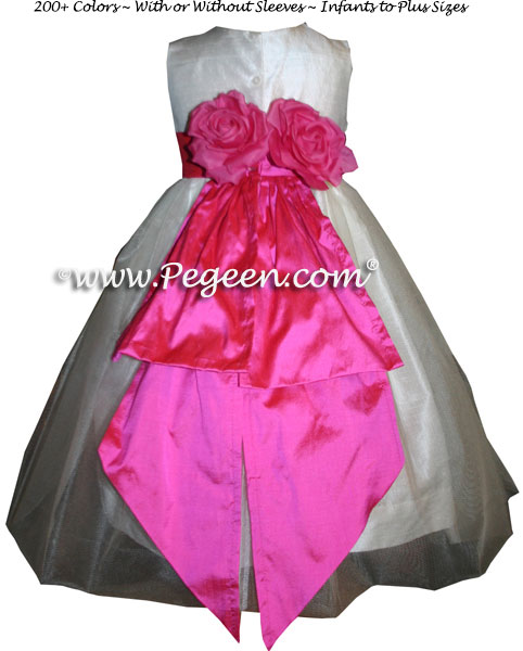 Tulle and Hot Pink Shock Flower Girl Dresses Style 383