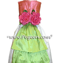 WATERMELON PINK AND GREEN Flower Girl Dresses