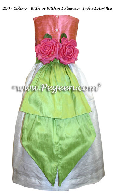 Silk in Apple green and watermelon pink Flower Girl Dresses by Pegeen
