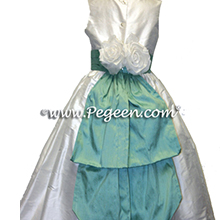 white and aqua silk  flower girl dresses