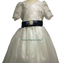 aloncon lace navy and white flower girl dresses