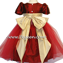 CLARET AND PURE GOLD flower girl dresses