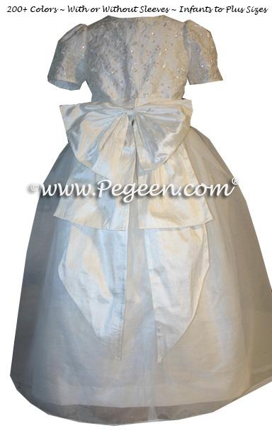 White Sequinned Silk Junior Bridesmaids and Custom flower girl Dresses