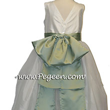 Jim Hjelm Matching FLOWER GIRL DRESSES IN CELADON AND NEW IVORY