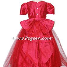 Lipstick pink tulle flower girl dresses