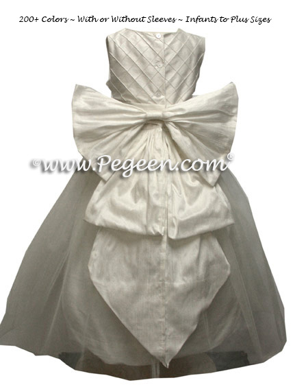 Antique white silk cinderella bow with pintucks first communion dresses
