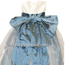 Arial Blue and Ivory silk flower girl dresses