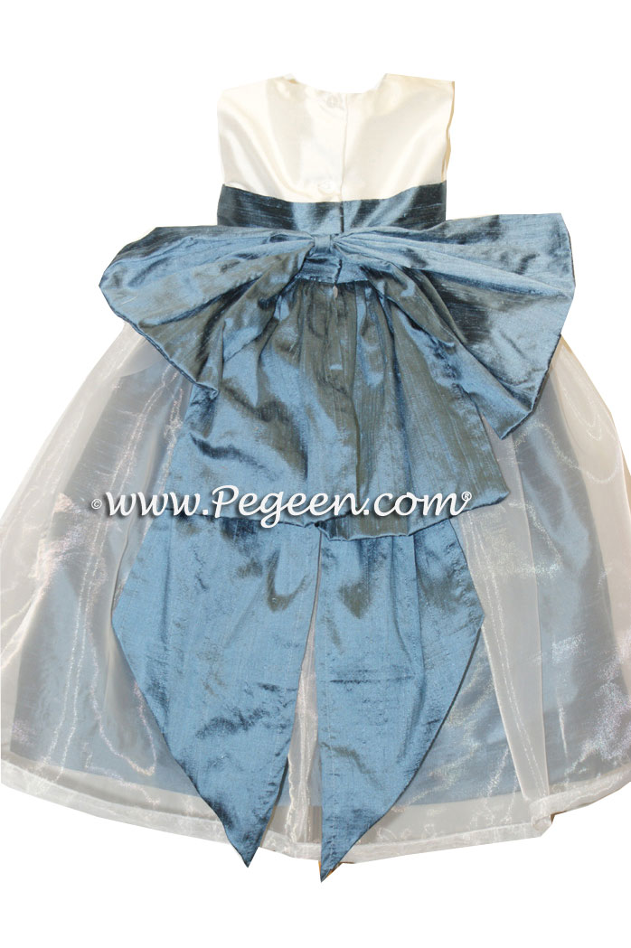 Arial Blue and New Ivory Silk Flower Girl Dresses Style 394