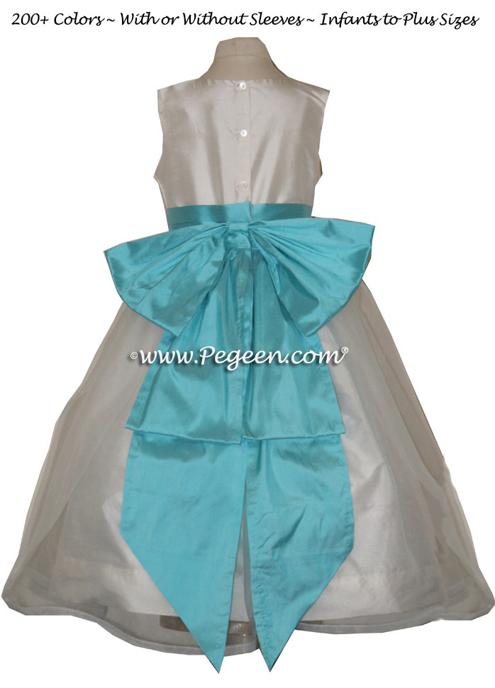 TIFFANY BLUE or BAHAMA BREEZE AND IVORY CUSTOM FLOWER GIRL DRESSES