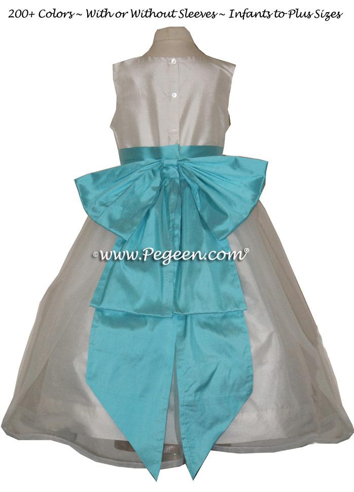 TIFFANY BLUE or BAHAMA BREEZE AND IVORY CUSTOM FLOWER GIRL DRESSES