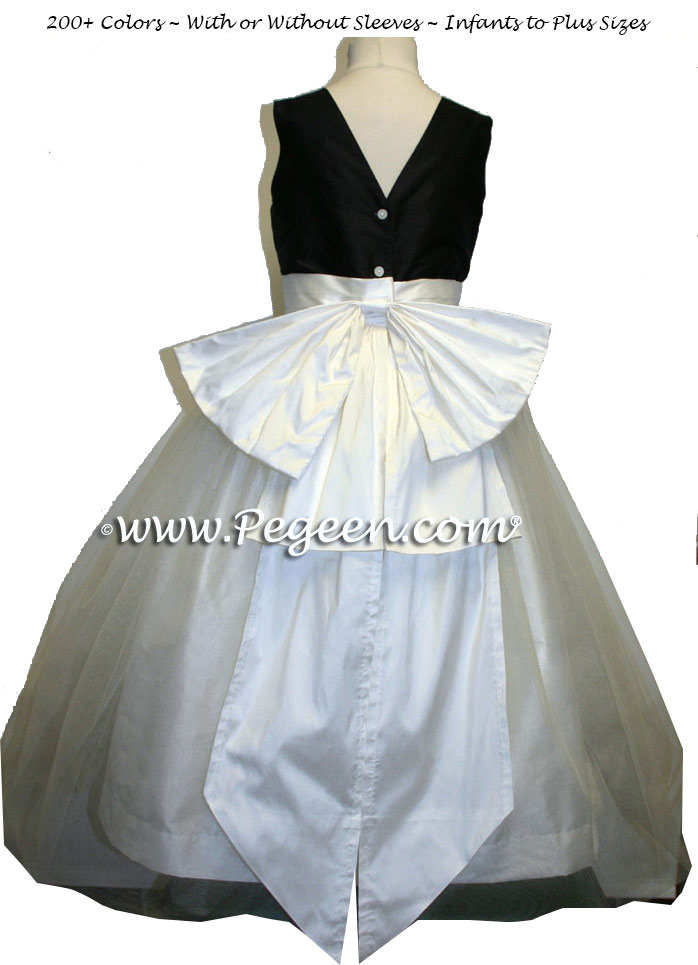 Black and New Ivory silk silk flower girl dresses style 394