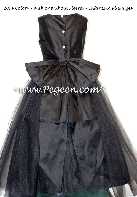 Custom silk and tulle black flower girl dresses