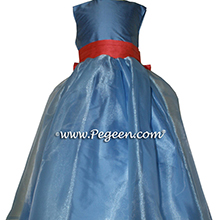 Flower Girl Dresses in Blue Moon and Salmon Flame