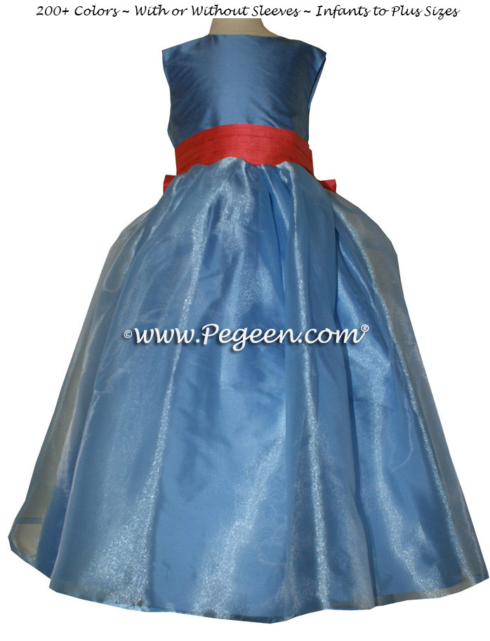 Blue Moon and Salmon Flame Silk and Organza Custom Flower Girl Dresses