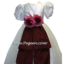 Burgundy and copper flower girl dresses