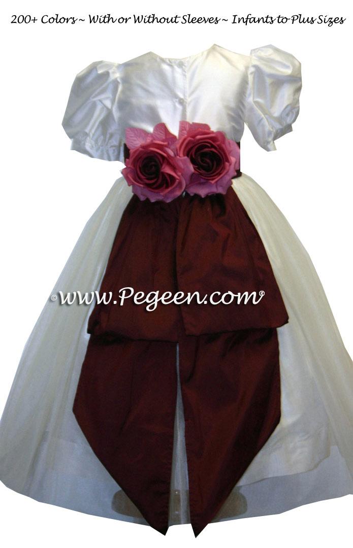 CUSTOM WHITE AND BURGUNDY SILK FLOWER GIRL DRESSES