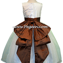 chocolate and white custom flower girl dresses