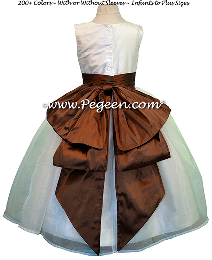 New Ivory and oak Brown silkflower girl dress