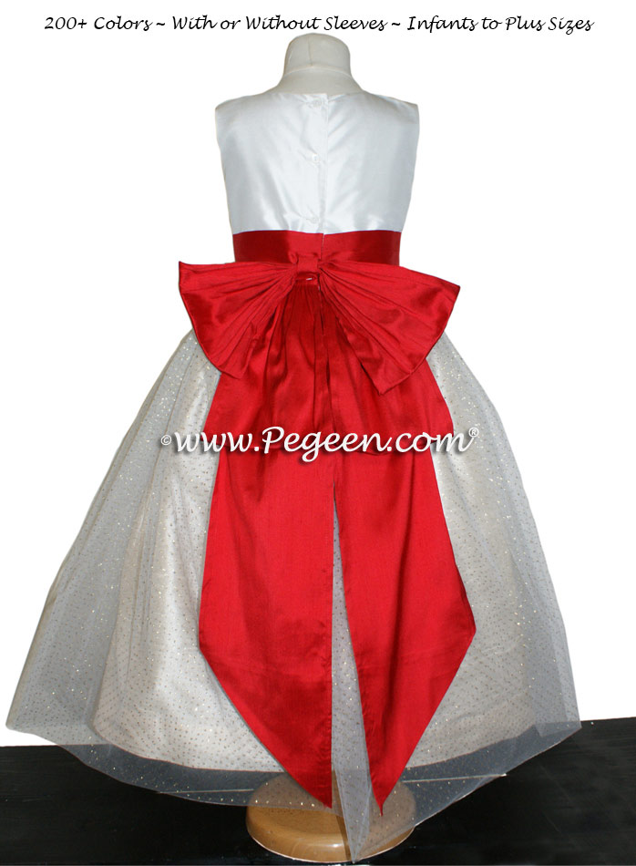 Antique white and tomato red silk flower girl dress
