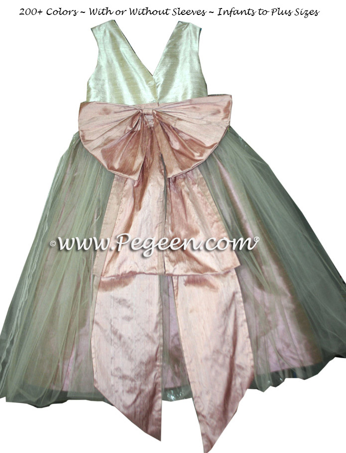 Peach and Bisque Flower Girl Dresses Style 394