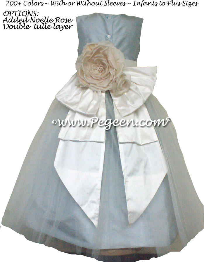 Custom Flower Girl Dresses in New Ivory and Cloud Blue