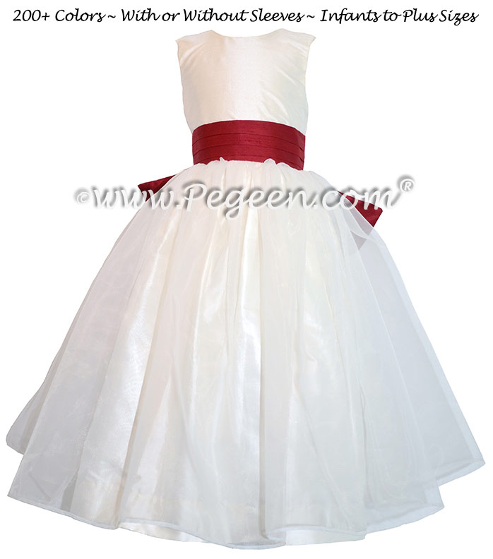 New Ivory and Cranberry Flower Girl Dresses with Cinderella Bow ...