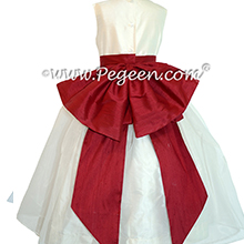 Flower Girl Dresses in New Ivory and Cranberry with Cinderella bow