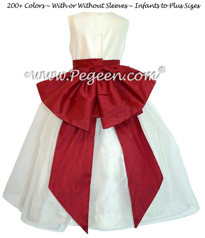 Christmas red and New Ivory custom silk flower girl dress