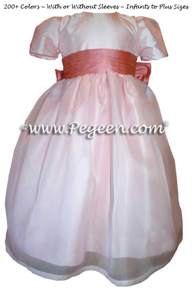 Peony pink and Gumdrop (coral) silk flower girl dress