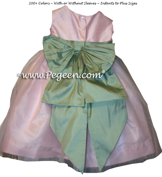 Custom celadon green and peony pinkh silk flower girl dresses with organza skirts