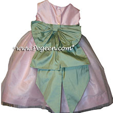 martha green and pink flower girl dresses